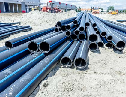 HDPE Pipe On Construction Site